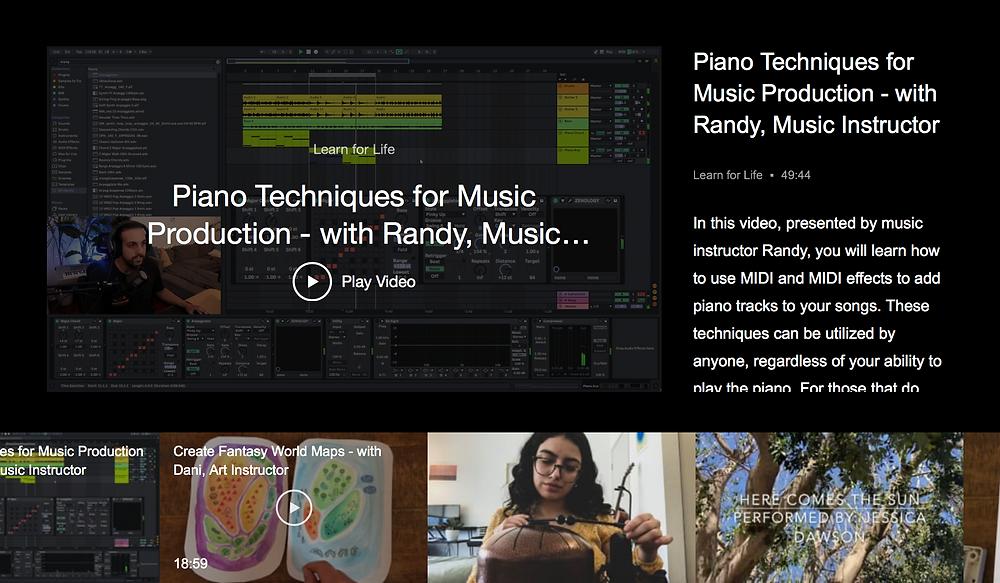 Screenshot of membership videos on website, online asynchronous learning.