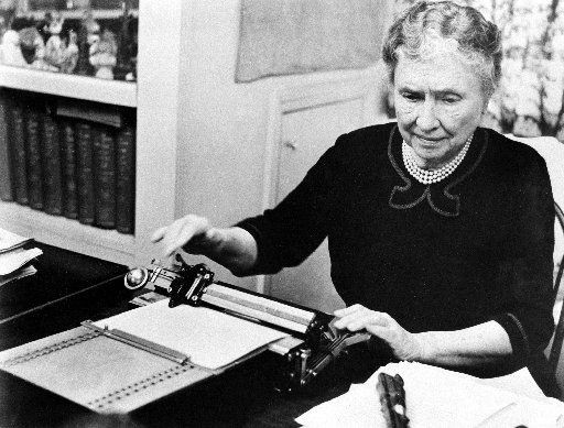 Helen Keller Old, black and white photo , Braille author,
