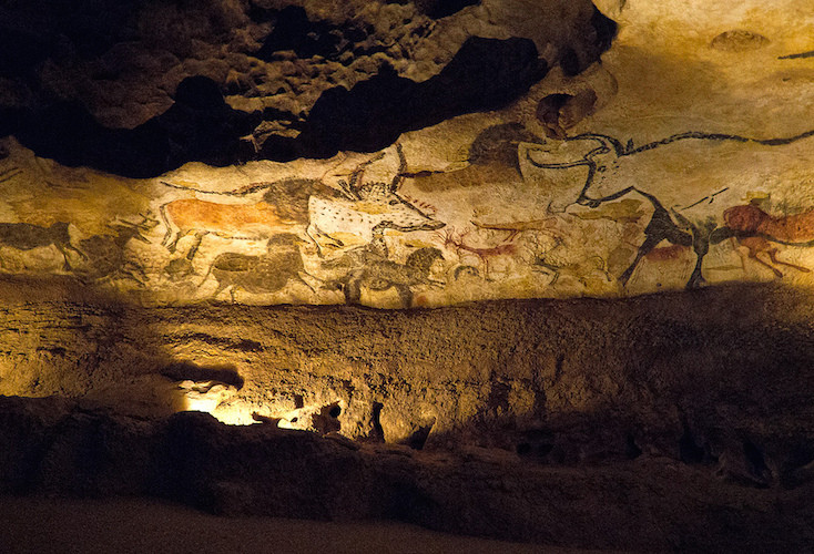 Left wall of the Hall of Bulls, Lascaux II (replica of the original cave, which is closed to the public), original cave: c. 16,000-14,000 B.C.E., cave wall, cave painting