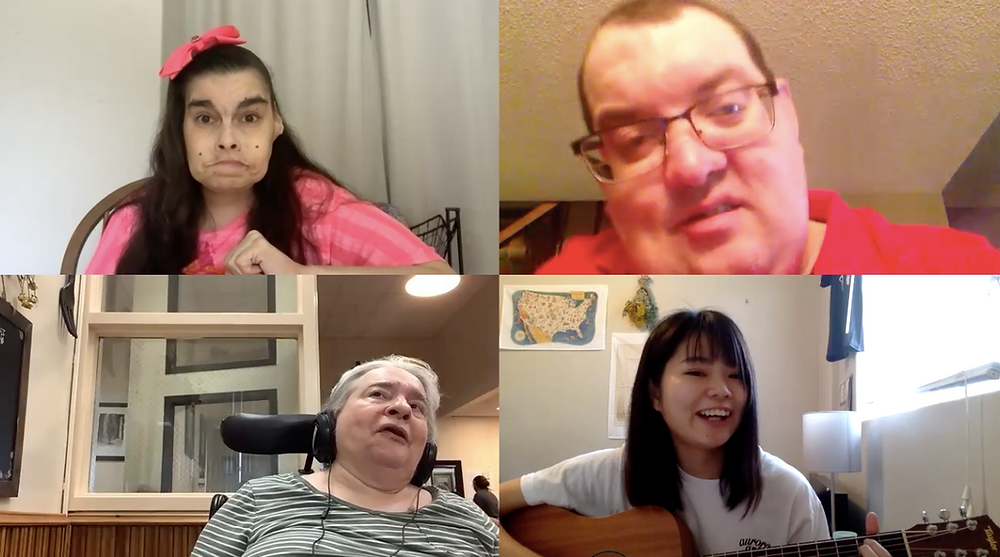 Zoom screenshot with Music Therapy Intern, Reon, in bottom right corner. Top left corner is a client dressed in a pink shirt and pink bow, top right is a smiling male client. bottom left a a female client wearing headphones and singing.