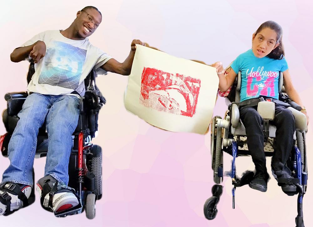 photoshopped image, adults with developmental disabilities, print proof, printmaking, newsprint, DIY printmaking, Printmaking at home, Cardboard printing plate