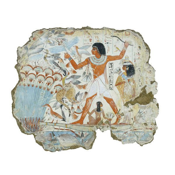 Egyptian blue on a fragment from Thebes, Egypt from around 1350 B.C. showing Nebamun hunting in the marshes (British Museum, Egyptian blue example