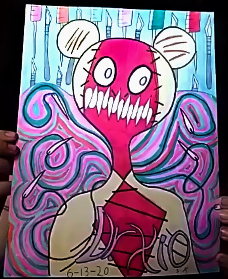 """Patched up red and white teddy bear in front of background of scalpels. Word """"Drxio"""" across the bottom of the artwork."""