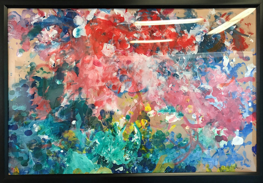 Artwork, acrylic painting, sponge painting, acrylic on paper, art for sale.