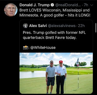 President Trump Golfs With NFL Star Brett Favre as Coronavirus Spikes