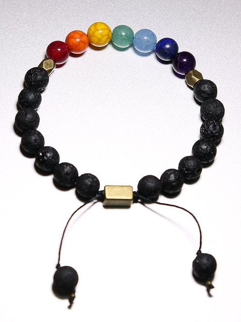 Chakra Healing Bracelet with Volcanic Stone