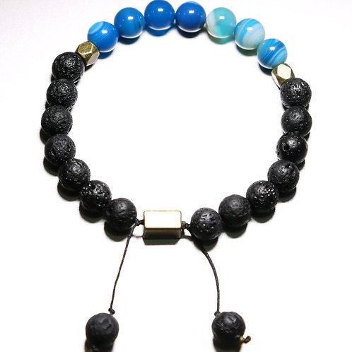Blue Healing Bracelet with Volcanic Stone