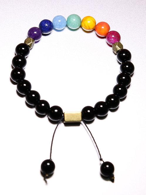 Chakra Healing Bracelet with Black Agate