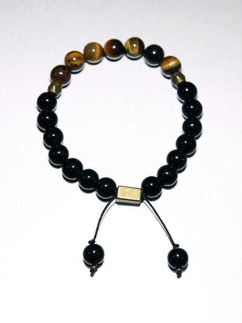 Healing Bracelet with Tiger's Eye Stone & Black Agate