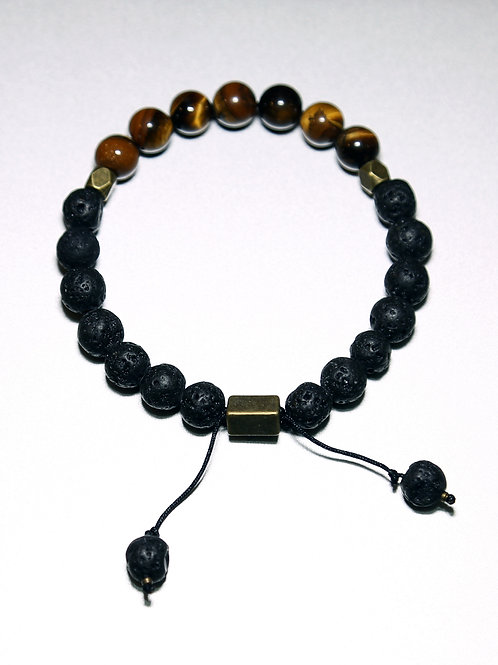 Healing Bracelet with Tiger's Eye & Volcanic Stone