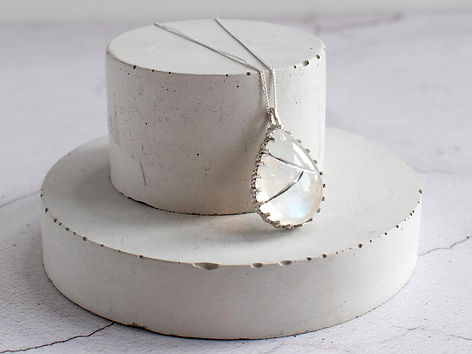Moonstone and Gallery Wire Kintsugi v2-2