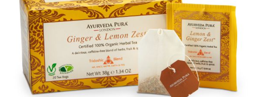 Ginger & Lemon Zest™ Organic Herbal Tea- Tridoshic Blend - Box