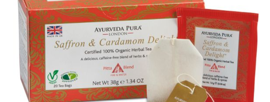 Saffron & Cardamom Delight™ Organic Herbal Tea- Pitta Blend - Box