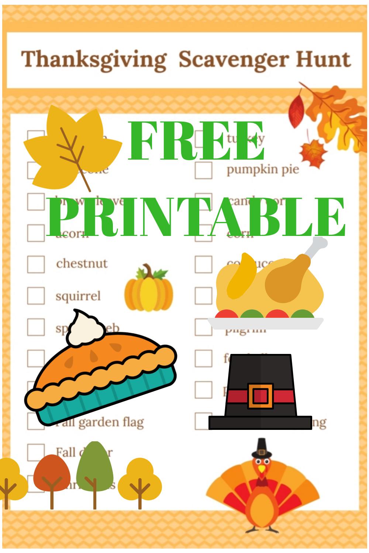 Thanksgiving Scavenger Hunt - Free Printable