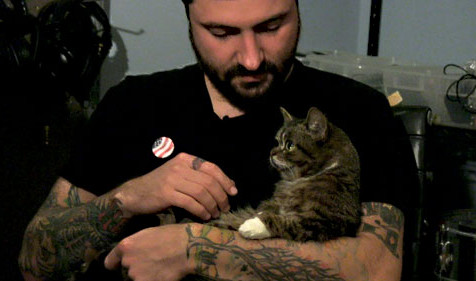 Mike Bridavsky and Lil' BUB, Bloomington, IN Recording Studio Owner/Chief Music Engineer with his Feline Celebrity