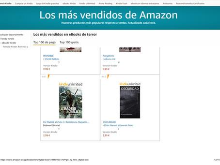 Oscuridad alcanza el puesto 42 de los ebooks más vendidos de terror en Amazon.
