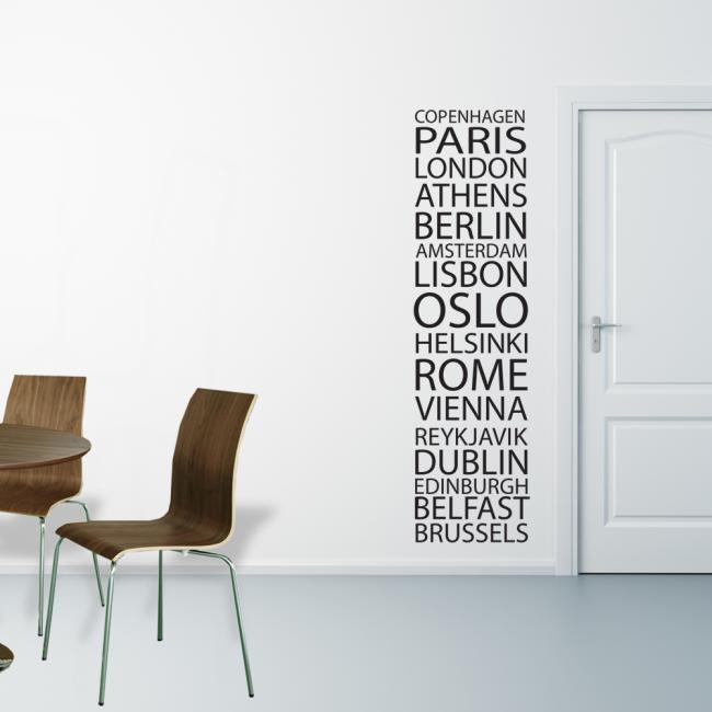 wallstickers, bogstaver på væg