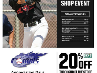 Dick's Sporting Goods Supports Wausau Comets Baseball!
