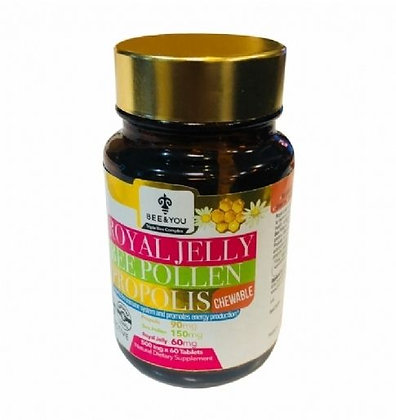 Royal Jelly Bee Pollen Propolis Chewable Tablets - 500 mg x 60 Tablets