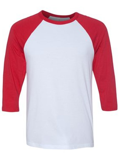 Unisex 3/4 Sleeve Raglan Tee -Red and White