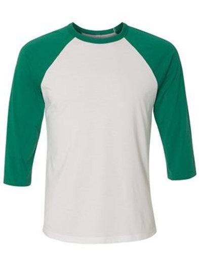 Unisex 3/4 Sleeve Raglan Tee - Kelly Green and White