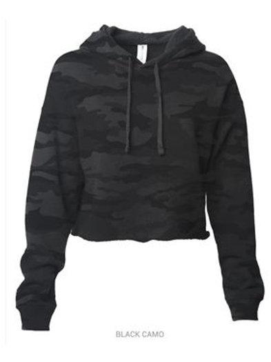 Cropped Hooded Sweatshirt - Camo