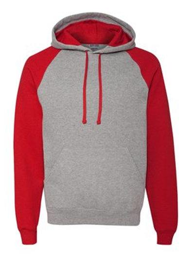 Raglan Hooded Sweatshirt -Oxford Red