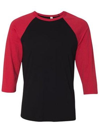 Unisex 3/4 Sleeve Raglan Tee -Red and Black