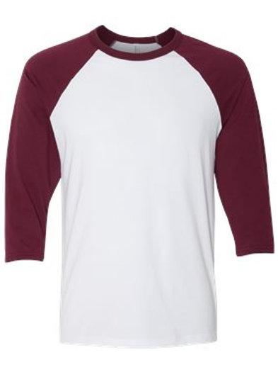 Unisex 3/4 Sleeve Raglan Tee - Maroon and White