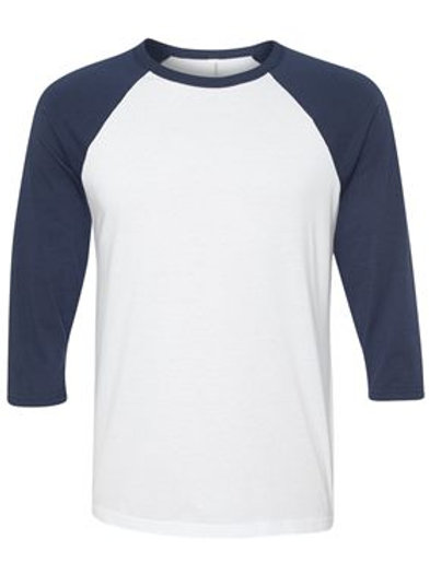 Unisex 3/4 Sleeve Raglan Tee - Navy and White