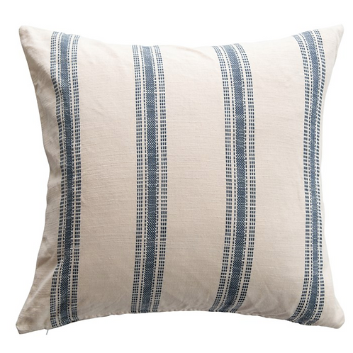 Mel Cream and Blue Striped Pillow