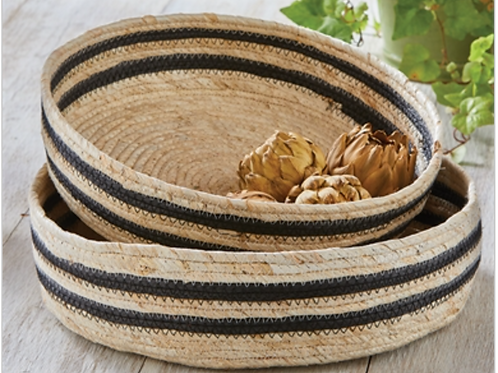 Marley Maize Striped Baskets Set of 2