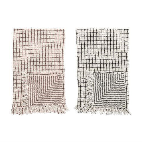 Set of 2 Grid Cotton Tea Towel