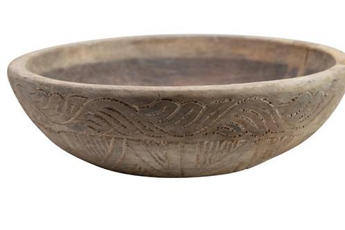 Sayla Found Carved Wood Bowl