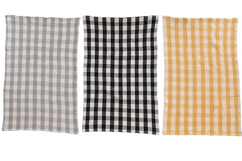 Set of 3 Checkered Waffle Towels