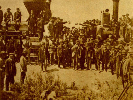 Photo: Promontory Utah 1869 Union Pacific and Central Pacific Locomotives Meet