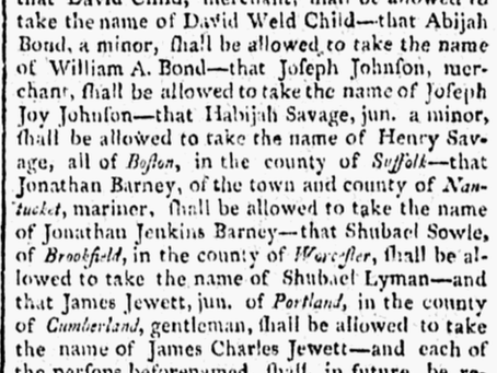 Legal Name Changes 1803 Massachusetts
