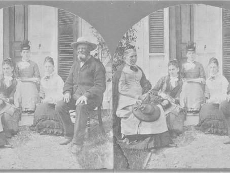 Stereoscope Photo Stearns-Eastman Family at Elm Street Amesbury Massachusetts Home