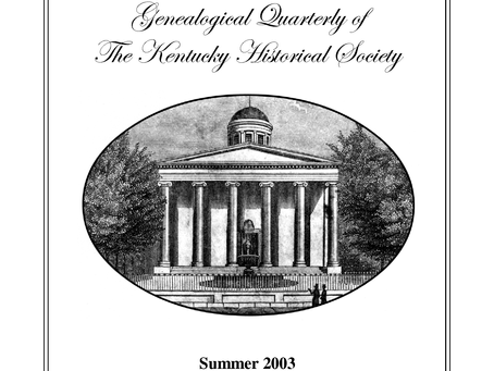A Guide to Kentucky History and Genealogy Quarterly from 1965 to present