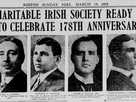 Photo Charitable Irish Society Boston Massachusetts 1915 Members Celebrate 178th Anniversary