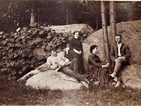 Photo George C. Adams, Charles F. Adams, Mary O. Adams, and Mary Adams, at Beverly Farms