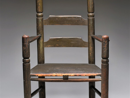Chair owned by Philip and Mary English attributed to Samuel Beadle Jr. Salem Massachusetts 1674