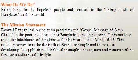 The Mission of Bengali Evangelistic Association