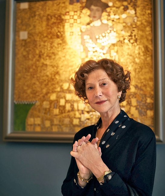 "Helen Mirren in ""Woman In Gold"" with Klimt painting replica"