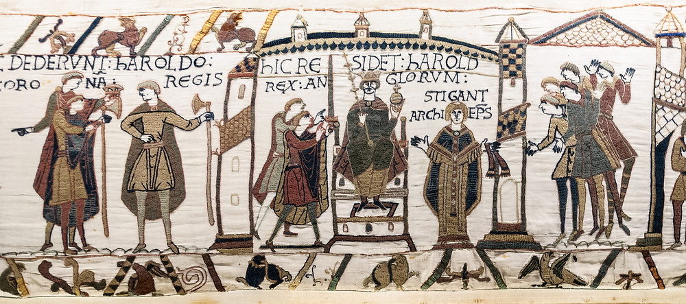 The coronation of Harold in the Bayeux Tapestry