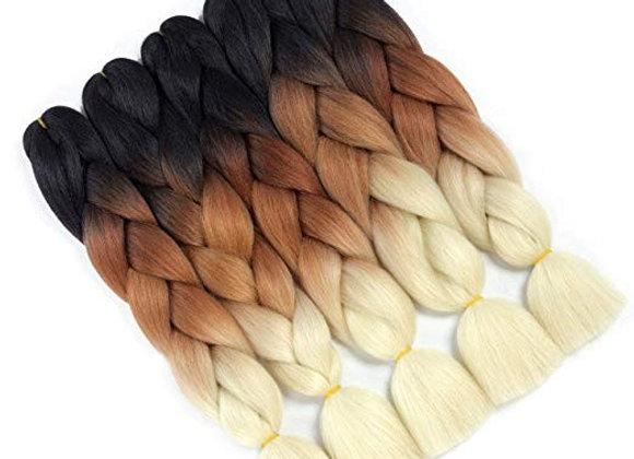 Dark Brown Blonde Long Ombre Kanekalon Jumbo Synthetic Braiding Hair