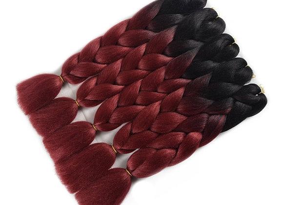 Black Burgundy Long Ombre Kanekalon Jumbo Synthetic Braiding Hair