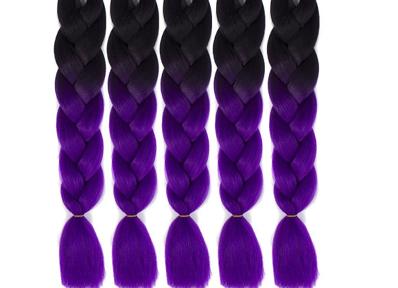 Black Purple Long Ombre Kanekalon Jumbo Synthetic Braiding Hair