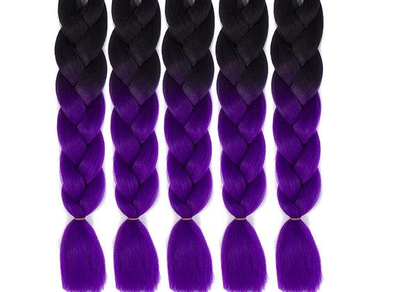 Black Purple Long Ombre Kanekalon Jumbo Synthetic Braiding Hair