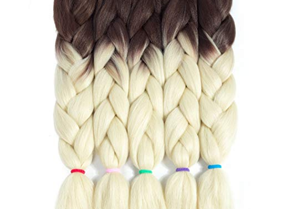 Brown Blonde Long Ombre Kanekalon Jumbo Synthetic Braiding Hair